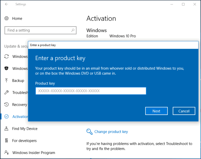 Enter a product key to Fix the Error 0xc004f050 on Windows 10