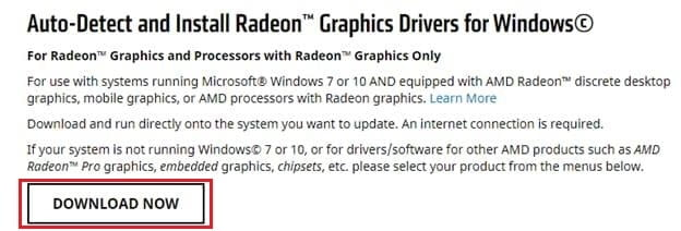 Download and Radeon Graphics Drivers