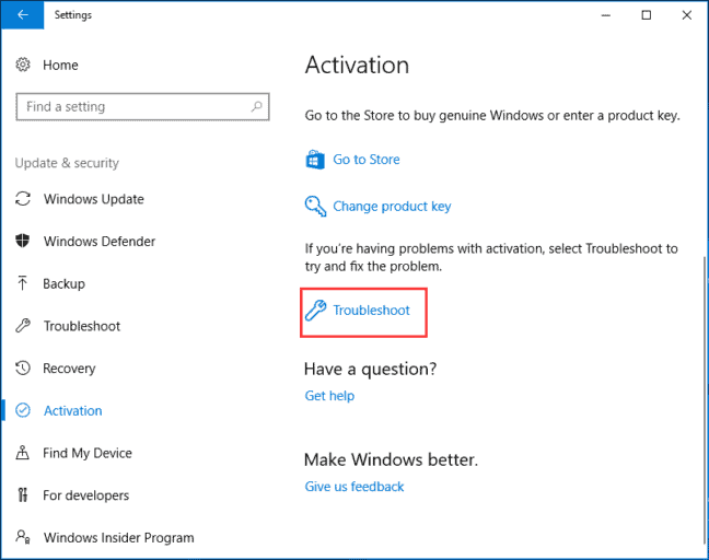 Run Troubleshot for activation to fix Error 0xc004f050 on Windows 10