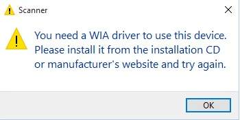 you must use this device with a WIA driver