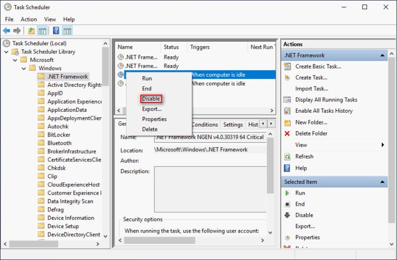Disable the system's .NET Framework tasks that wakes up during the idle mode