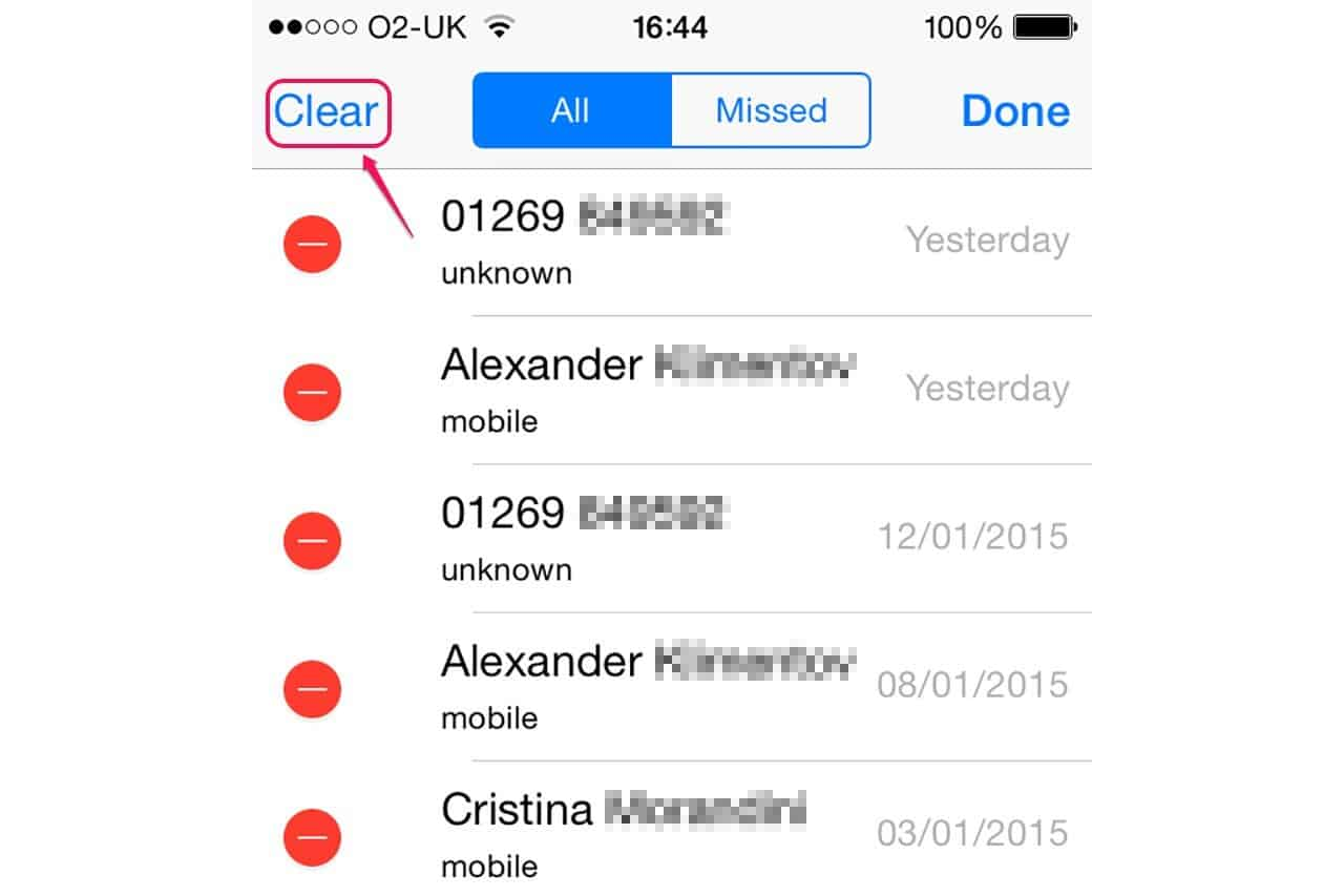 Delete Call History on iPhone driectly