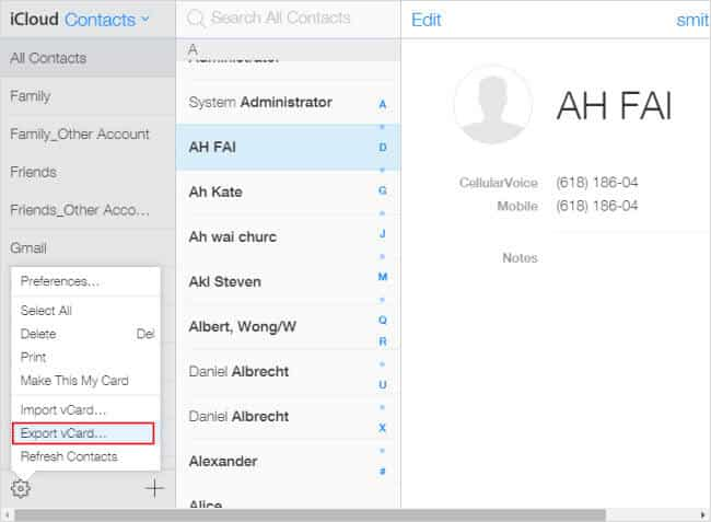 export icloud contacts from pc